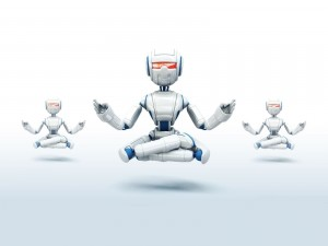 Postal: Robots practicando yoga