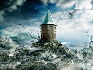 Torre asomando por encima de una montaña de basura
