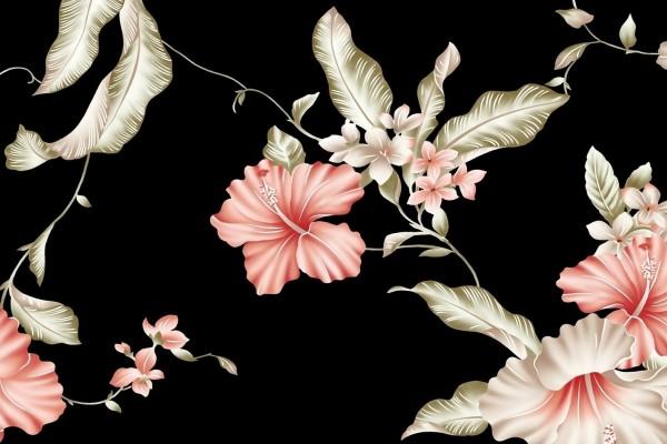 Flores pintadas sobre un fondo negro