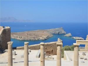 Postal: Acrópolis de Lindos en la isla de Rodas (Grecia)