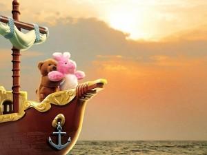 "Postal: Peluches imitando una escena de la película ""Titanic"""