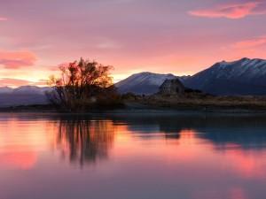 Postal: Amanecer en el Lago Tékapo (Nueva Zelanda)
