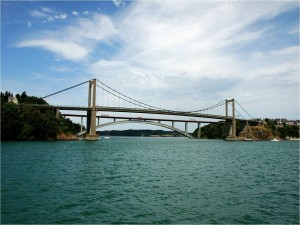 Postal: Puente Saint Hubert sobre el río Rance (Francia)