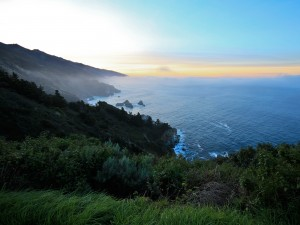 Cielo azul y amarillo en Big Sur (California)