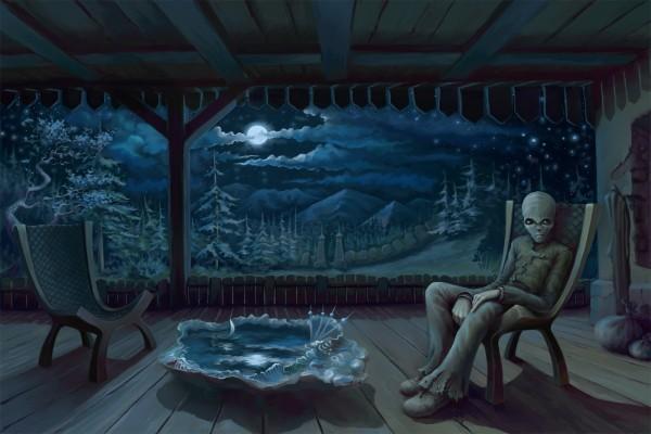 Un alien sentado en el porche