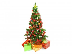 Árbol de Navidad con sus regalos