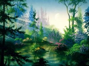 Postal: Naturaleza pintada