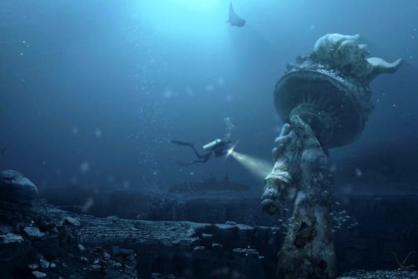 La Estatua de la Libertad en el fondo del mar