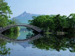 Puente oriental cruzando un río en calma