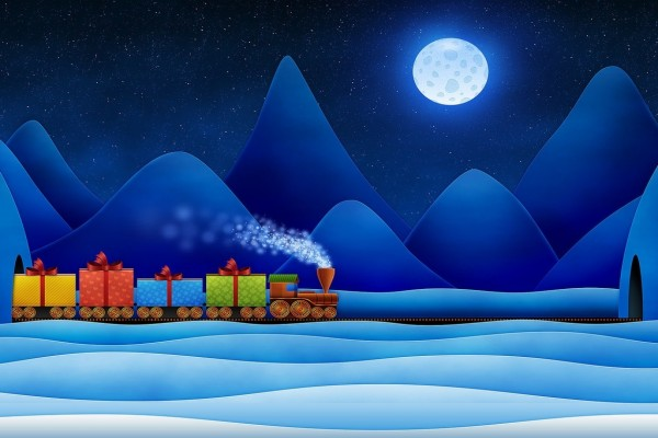 El tren de regalos de Navidad