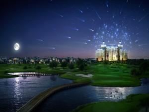 Postal: Un hotel mágico junto a un campo de golf