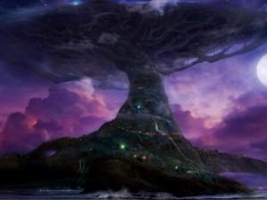 Postal: Árbol gigante tocando el cielo