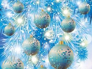 Postal: Bolas de espejos para el árbol de Navidad