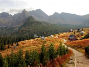 Casas de madera cerca de los montes Tatras