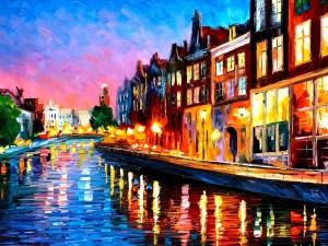 Canal lleno de luces y colores