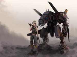 Una chica con su robot