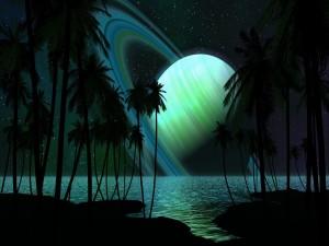 Postal: Saturno en el horizonte