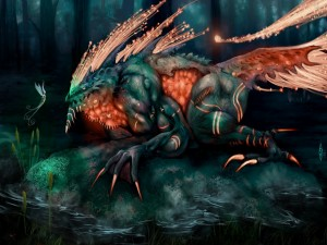Diabólico dragón frente a una hada