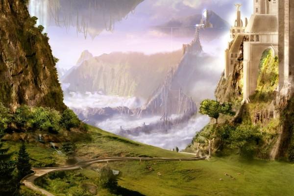 Castillos futuristas en las montañas