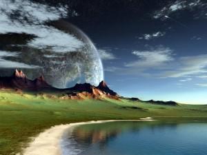 Mar y montaña en un planeta cercano