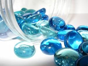 Cuentas de cristal azul