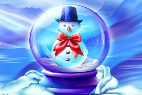 Muñeco de nieve dentro de una bola de cristal