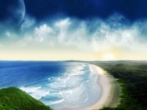 La luna provocando las mareas
