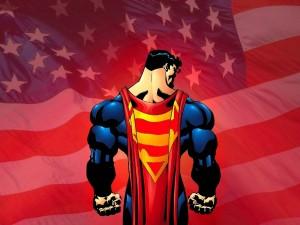 Superman con la bandera americana de fondo
