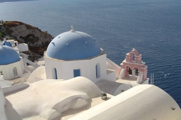 Vistas al mar desde la Isla de Santorín (o Santorini), en Grecia