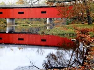 Postal: Puente cubierto en Cataract Falls (Indiana)