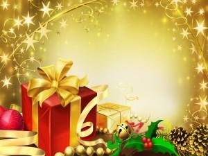 Postal: Regalos coloridos para Navidad