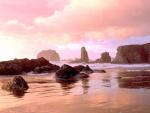 Rocas en la playa, bajo un cielo rosado