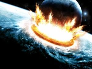 Postal: Un planeta colisionando con otro más grande