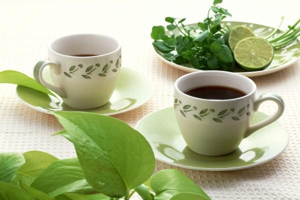 Dos tacitas de té rojo