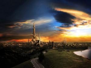 Postal: Ciudad llena de minaretes
