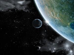 Postal: La Tierra tocando el Universo