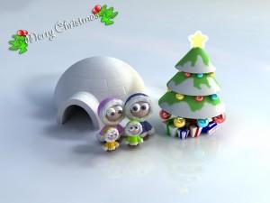 Postal: Muñecos esquimales junto al árbol de Navidad