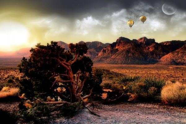 Globos sobrevolando el Gran Cañón del Colorado (Arizona)