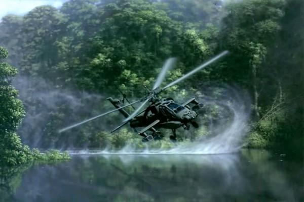"""Helicóptero de ataque """"AH-64 Apache"""" muy cerca del agua"""
