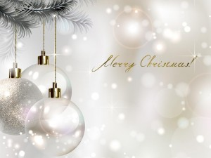 Postal: Bolas blancas anunciando una Feliz Navidad