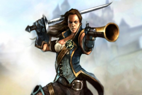 Mujer combatiendo con espada y pistola