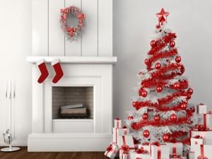 Chimenea y árbol de Navidad blancos