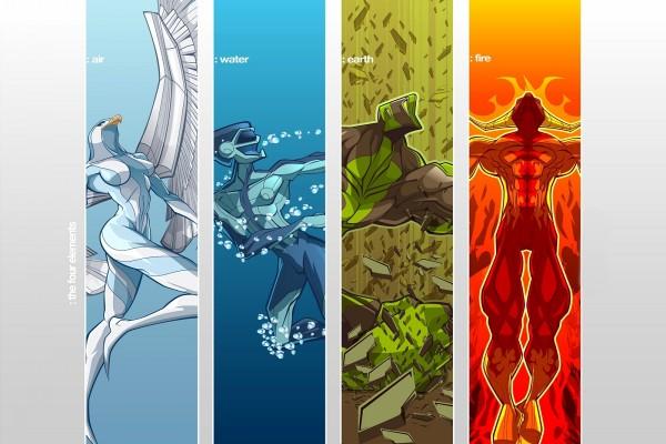 Los cuatro elementos: aire, agua, tierra y fuego