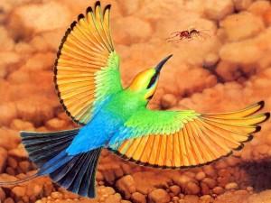 Postal: Pájaro persiguiendo a una hormiga alada