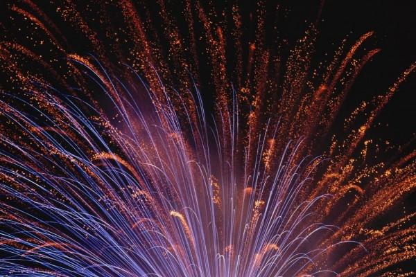 Fuegos artificiales cubriendo el cielo nocturno