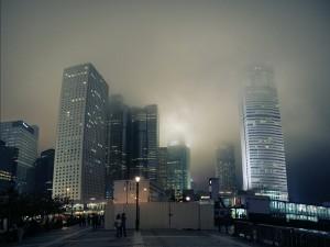 Postal: Niebla en la ciudad