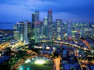 Postal: Vista aérea de Singapur