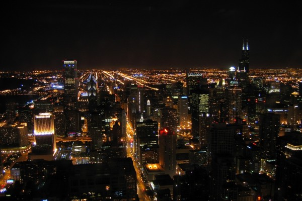Vista nocturna de Chicago