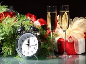 Dos copas de champán para brindar por el nuevo año