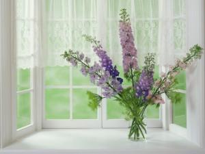 Postal: Flores lilas silvestres junto a una ventana